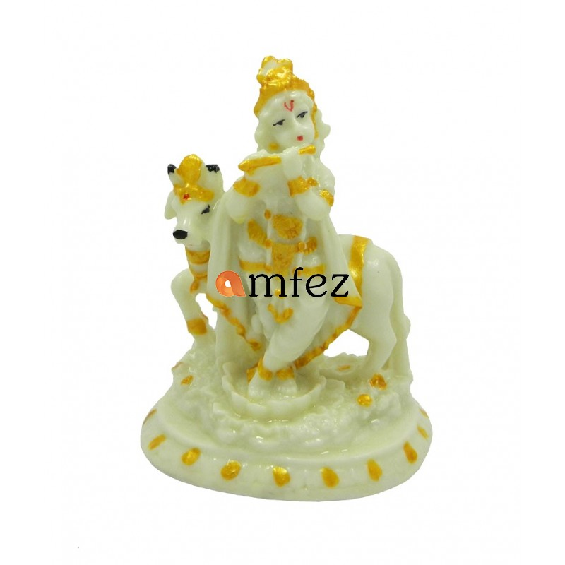 Handicrafts Standing Krishna With Cow Wax Idol/ Statue