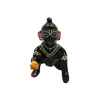 Beautiful Painted Black Coated Laddu Gopal Idol
