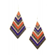 Multi Color Metal Triangle Dangle Earrings