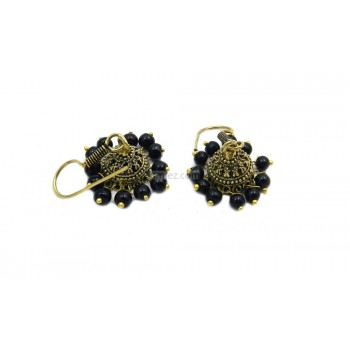 Modern Pair Of Jhumki With Black Color Beads