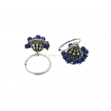 Modern Pair Of Jhumki With Blue Color Beads
