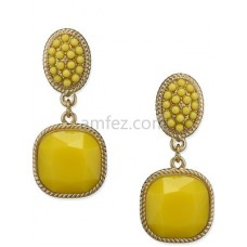 Yellow Hot Sell Fashion Rhinestone Colorful Clip Eearring