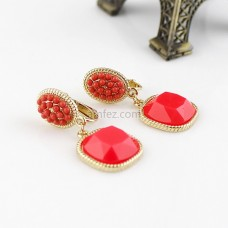 Pink Hot Sell Fashion Rhinestone Colorful Clip Eearring