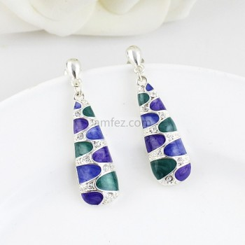 Silver Colorful Enamel Fashion Dangle Eearring