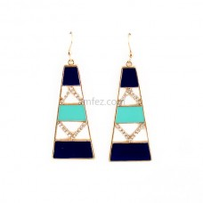 Blue and Black Esmalte Rhinestone Drop Earrings