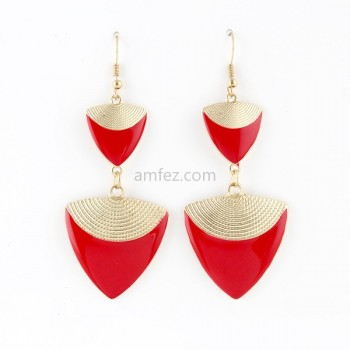 Hot Red Color Enamel Triangle Shape Long Drop Earrings