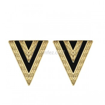 New Golden Triangle Enamel Alloy Drop Earrings
