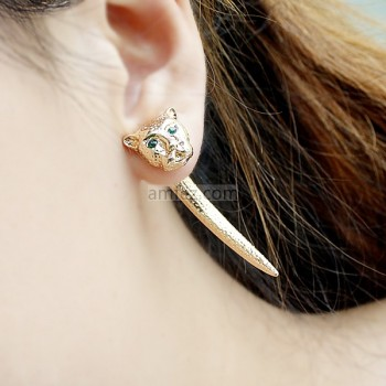 Leopard Head Long Punk Stud Earrings For Women