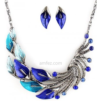 Blue Zantedeschia Rhinestone Alloy Fashion Jewelry Sets