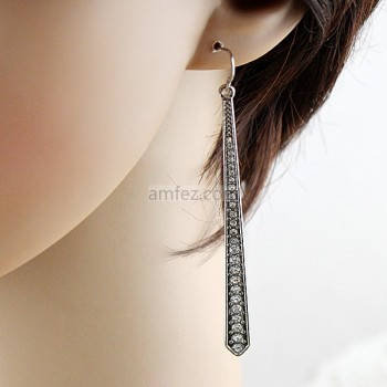 Pendientes Plata Aolly Rhinestone Long Drop Earrings