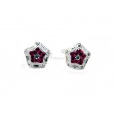 A Pair of Pink Hexagon Shape AlloyToe Rings