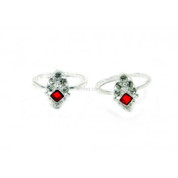 A Pair of Red color Alloy Toe Rings