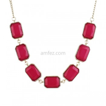 Pink Fashionable Gold Plated Alloy Cute Necklace For Girl