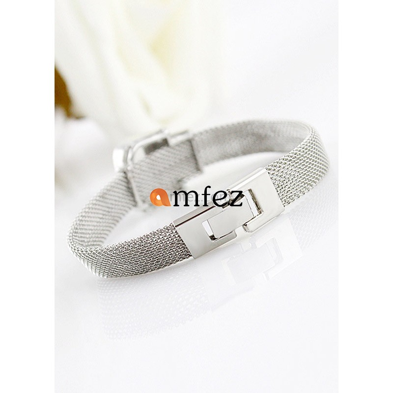 Silver Belt Pattern Round Brilliant Metal Chic Woman's Bracelet